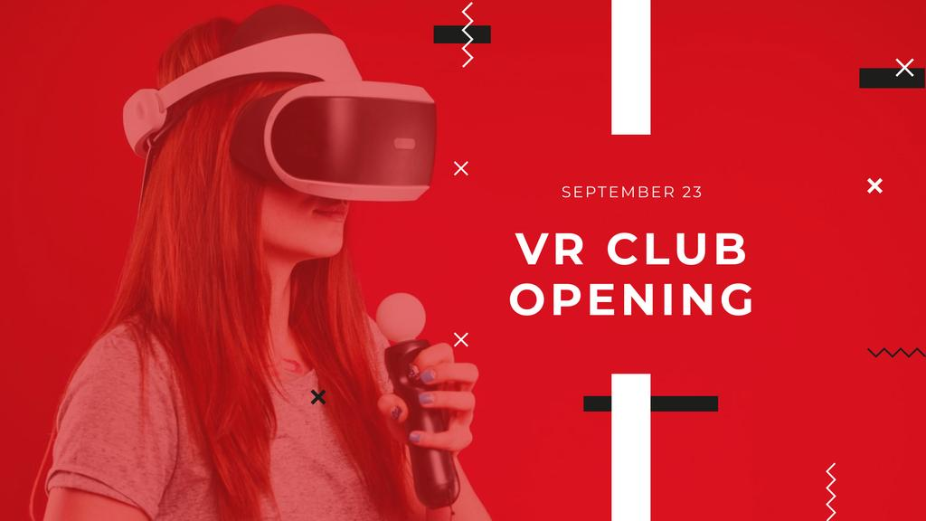 VR Club Opening with Woman in Glasses FB event cover Modelo de Design