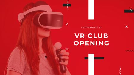 Ontwerpsjabloon van FB event cover van VR Club Opening with Woman in Glasses