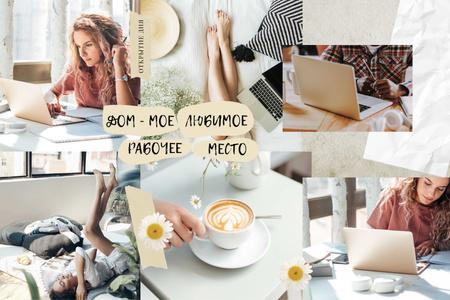 Cozy Workplace at home Mood Board – шаблон для дизайна