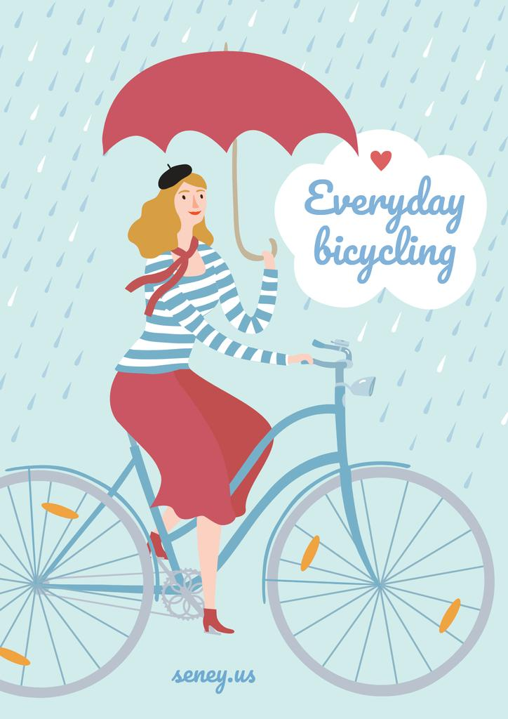 Illustration of Woman on bike in Rainy Day — Create a Design