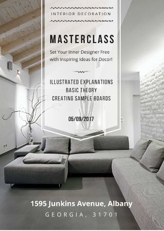 Modèle de visuel Interior decoration masterclass with Sofa in grey - Invitation