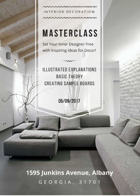 Interior decoration masterclass with Sofa in grey Invitation Tasarım Şablonu