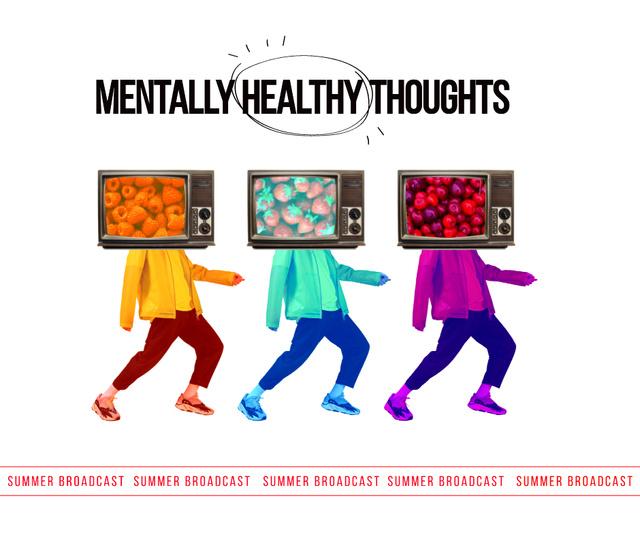 Designvorlage Bright illustration of People with TV Heads für Facebook