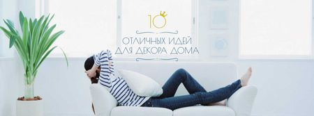 Real Estate Ad with Woman Resting on Sofa Facebook cover – шаблон для дизайна