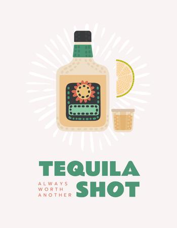 Tequila bottle with shot and lime T-Shirt – шаблон для дизайну