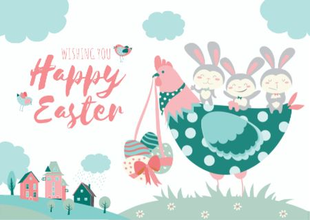 Happy Easter Wishes with Chicken and Bunnies Postcard Tasarım Şablonu