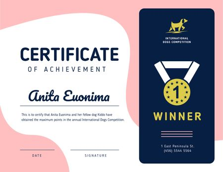 Ontwerpsjabloon van Certificate van Dog Competition Achievement in Pink