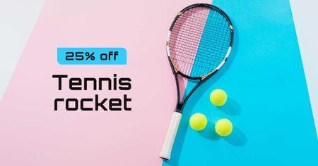 Tennis Racket Discount Sale Offer Facebook AD Tasarım Şablonu