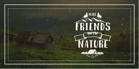 Plantilla de diseño de Nature Quote with Scenic Mountain View Twitter