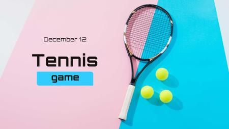 Tennis Game ad with Racket on Court FB event cover Modelo de Design
