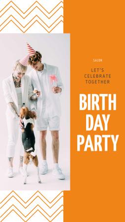 Plantilla de diseño de Birthday Party Announcement with Couple and Dog Instagram Story