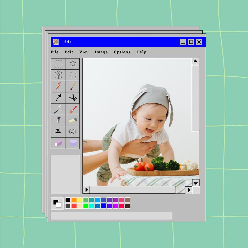 Template di design Cute Little Baby and Fresh Vegetables Instagram