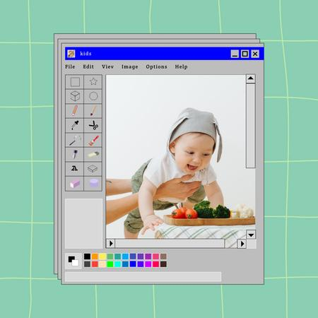 Cute Little Baby and Fresh Vegetables Instagram – шаблон для дизайну