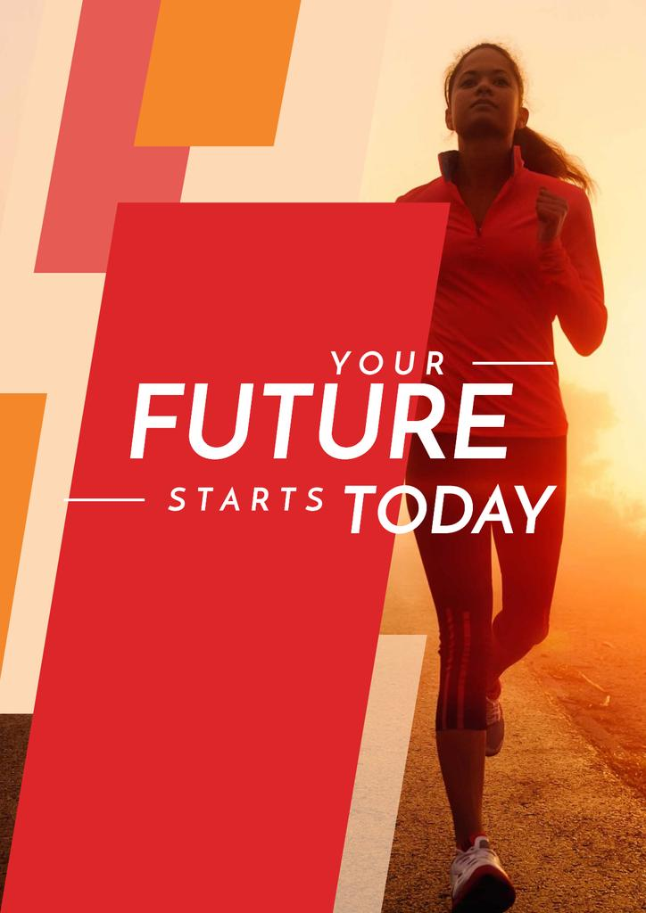 Motivational Sports Quote with Running Woman in Red —デザインを作成する