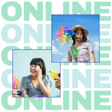 Template di design Online Party Invitation with Girl holding Toy Wind Mill Instagram