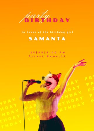 Template di design Birthday Party Announcement with Funny Dog Face Invitation