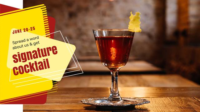 Bar Promotion Glass with Cocktail FB event cover Tasarım Şablonu