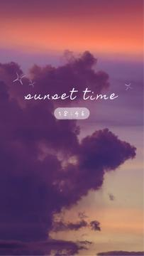 Sunset Time clock on purple Sky