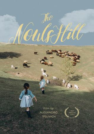 Designvorlage Movie Announcement with Children in Field für Poster