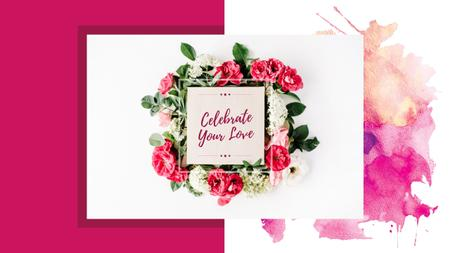 Ontwerpsjabloon van Youtube van Love Wishes in Flowers Frame