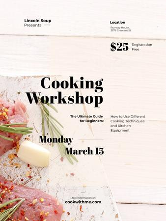 Cooking Workshop ad with raw meat Poster US Modelo de Design