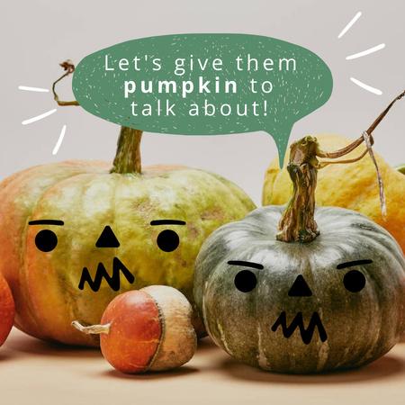 Pumpkins with Funny Faces Instagram – шаблон для дизайну