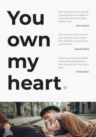 Ontwerpsjabloon van Poster van Loving Quote with Couple on the street