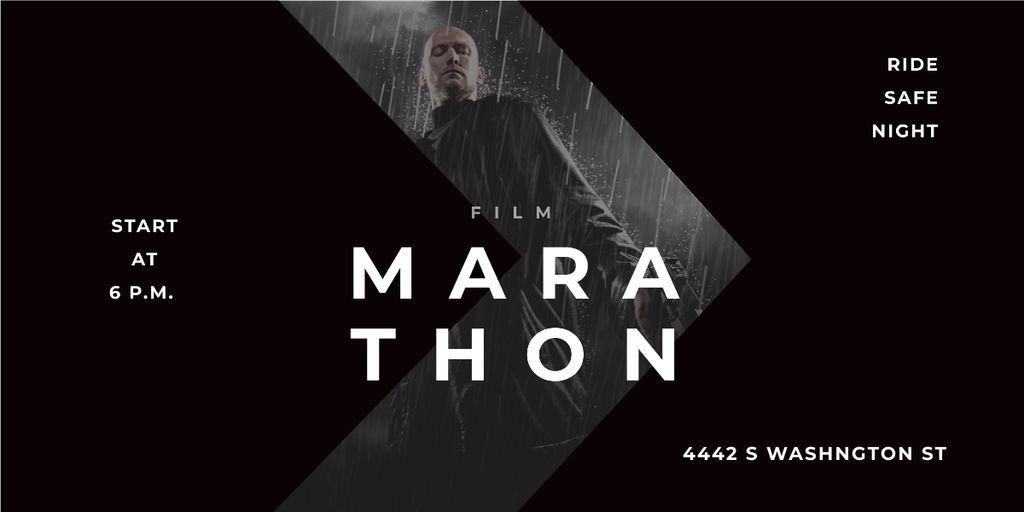 Film Marathon Ad Man with Gun under Rain Imageデザインテンプレート