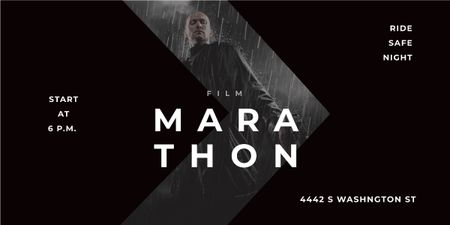 Film Marathon Ad Man with Gun under Rain Image Modelo de Design