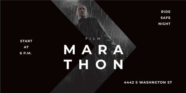 Film Marathon Ad Man with Gun under Rain Imageデザインテンプレート