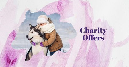 Child in Winter Clothes with Cute Dog Facebook AD Design Template