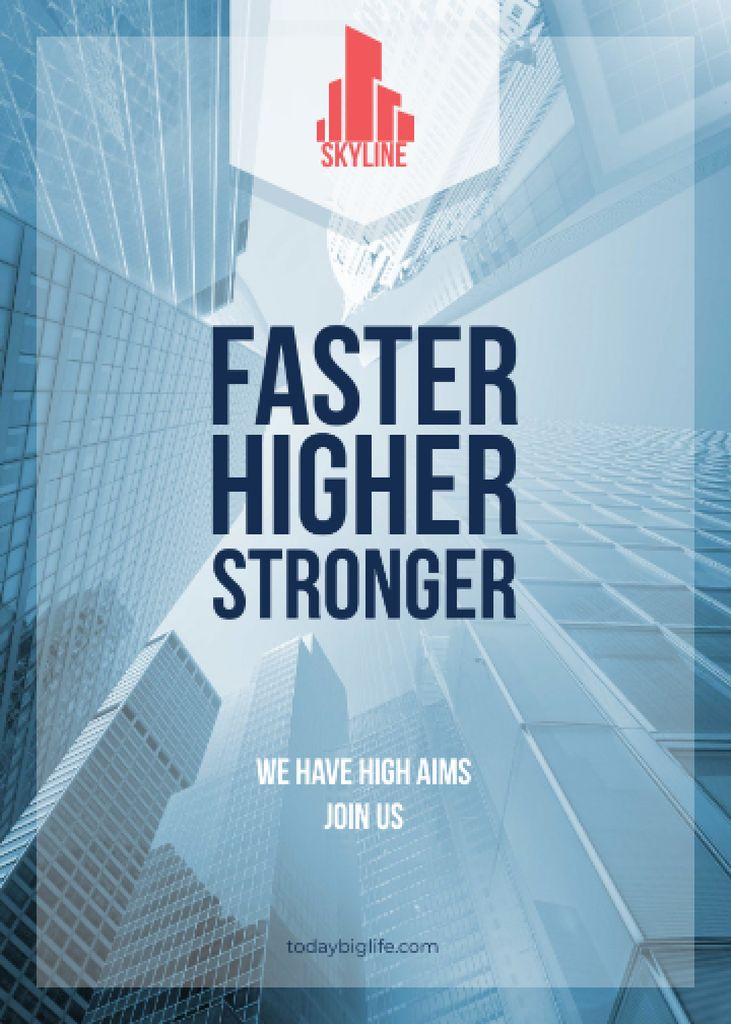 Real Estate Advertisement Modern Skyscrapers Flayer – шаблон для дизайна