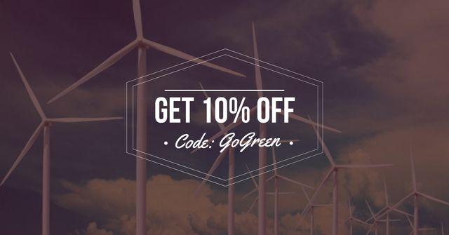 Discount Offer with Wind Turbine Farm Facebook AD – шаблон для дизайну