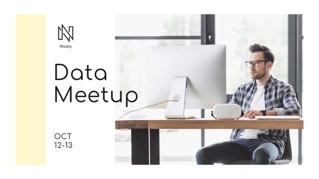 Data Meetup Announcement with Programmer FB event cover Modelo de Design