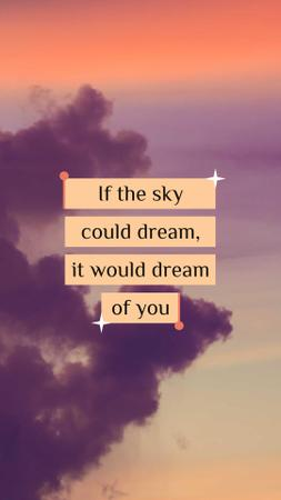 Plantilla de diseño de Dream Quote on sunset Sky Instagram Story
