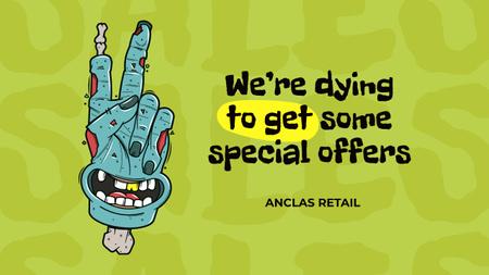 Halloween Offer with Funny Dead Hand Youtube Thumbnail – шаблон для дизайна