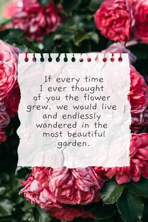 Love Quote with floral Garden Pinterest Design Template