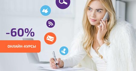 Online Courses Offer with Network Icons Facebook AD – шаблон для дизайна