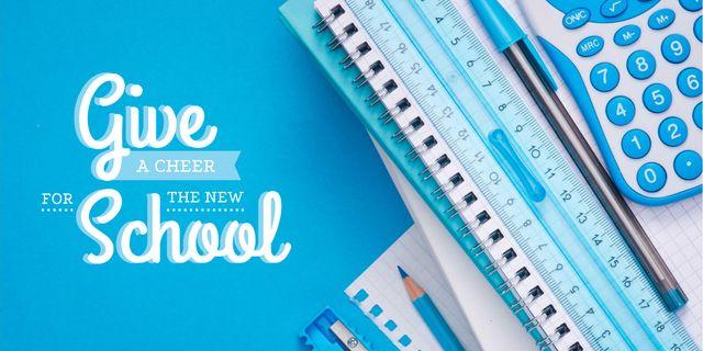 School stationary and calculator Imageデザインテンプレート