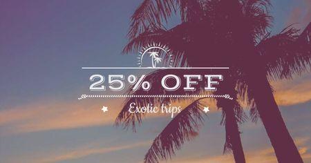 Template di design Summer Beach Palm Trees at sunset Facebook AD