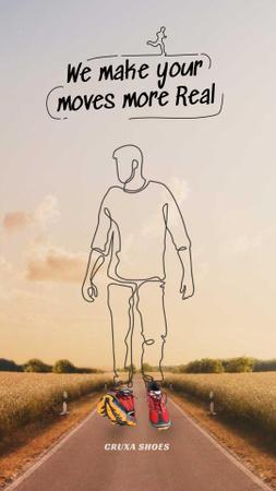 Designvorlage Silhouette of Man walking in comfortable Sneakers für Instagram Video Story
