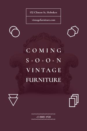 Ontwerpsjabloon van Pinterest van Antique Furniture Auction with Luxury Armchair