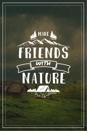 Nature Quote with Scenic Mountain View Pinterest Modelo de Design