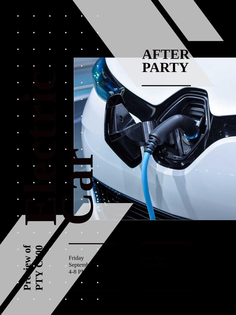 After Party invitation with Charging electric car — Modelo de projeto