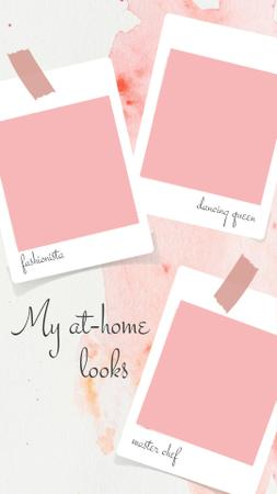 Template di design At-home looks ideas on Snapshots in pink Instagram Story