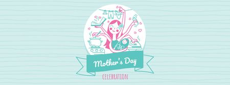 Template di design Mother's Day Greeting with Multitasking Mother Facebook cover