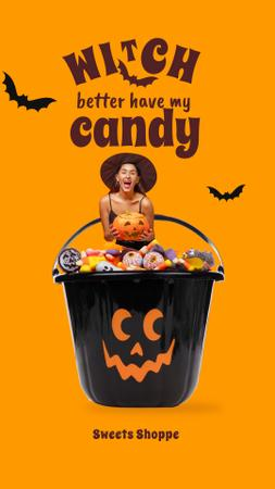 Modèle de visuel Funny Girl in Witch Costume sitting in Bucket of Sweets - Instagram Story
