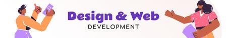 Designvorlage Development Team working together für LinkedIn Cover
