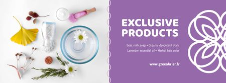 Ontwerpsjabloon van Facebook cover van Beauty Shop Offer with Natural Skincare Products