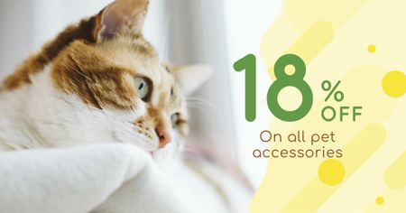 Pet Accessories Discount Offer with Cute Cat Facebook ADデザインテンプレート